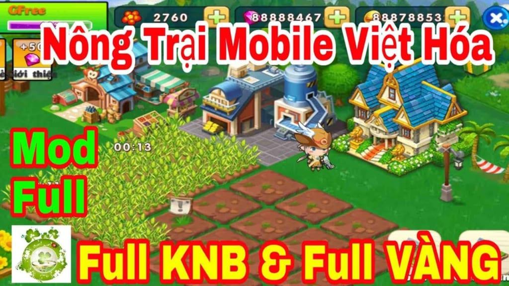Game Mobile Mod Full Nông Trại Vui Vẻ Mobile Việt Hóa | Mod Full KNB & Full Vàng Xài Thả Ga
